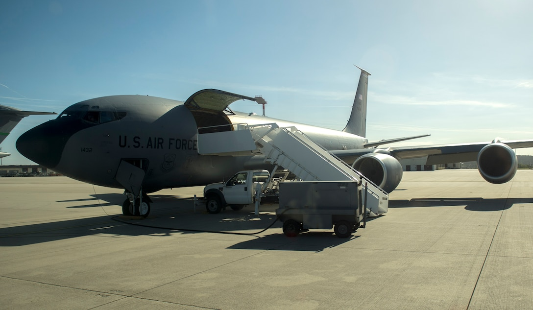 A U.S. Air Force KC-135 Stratotanker from the 191st Air Refueling Squadron, Roland R. Wright Air National Guard Base, Utah, awaits civic leader guests to board before a refueling mission at Spangdahlem Air Base, Germany, Sept. 26, 2016. The tanker arrived Sept. 17th to train with Spangdahlem's F-16 Fighting Falcons, adding valuable training for air-to-air refueling. (U.S. Air Force photo/Airman 1st Class Preston Cherry)