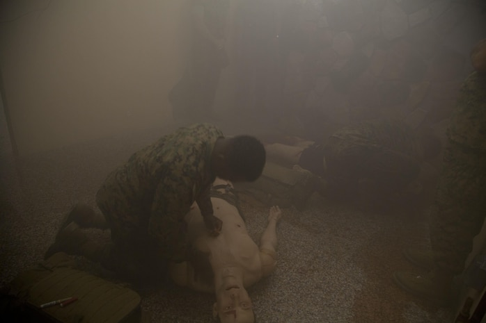 Students demonstrate combat care procedures in the FMTB-E simulation Lab.