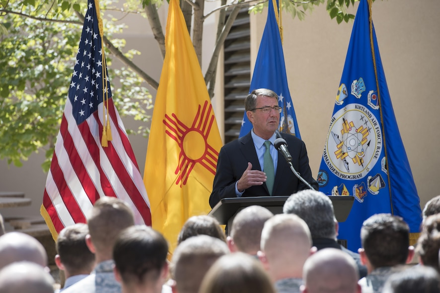 Defense Secretary Ash Carter speaks to troops at Kirtland Air Force Base, N.M.