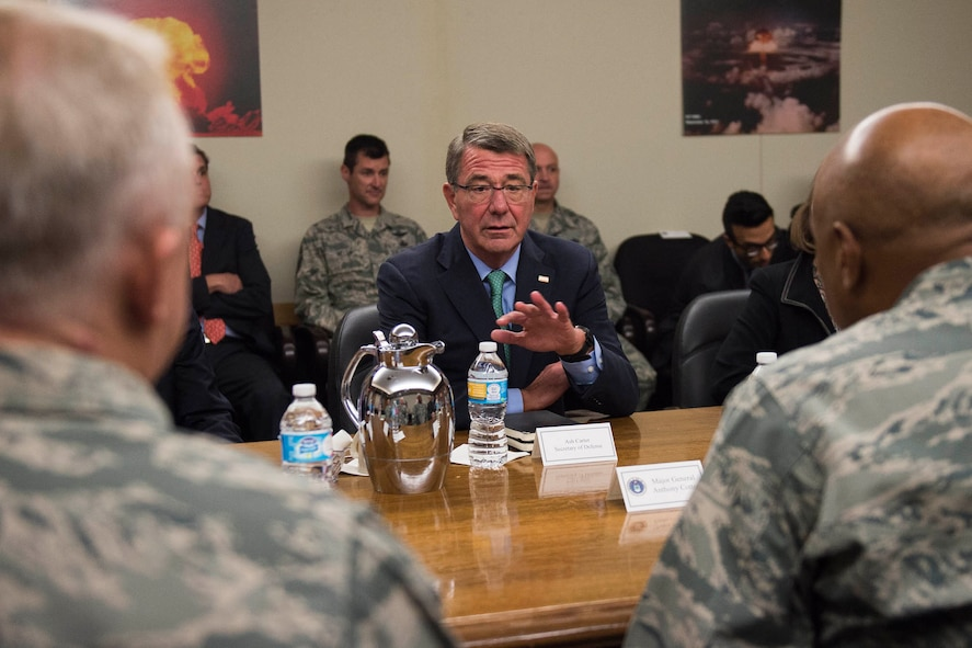 Defense Secretary Ash Carter meets with Air Force leaders during a visit to Kirtland Air Force Base, N.M.