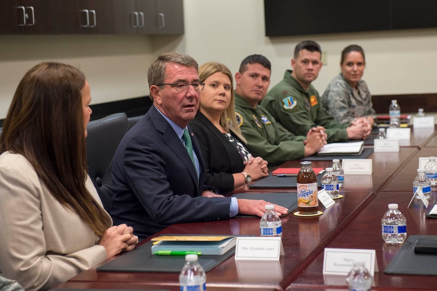 Defense Secretary Ash Carter meets with students from the School for Advanced Nuclear Deterrence Studies at Kirtland Air Force Base, N.M.