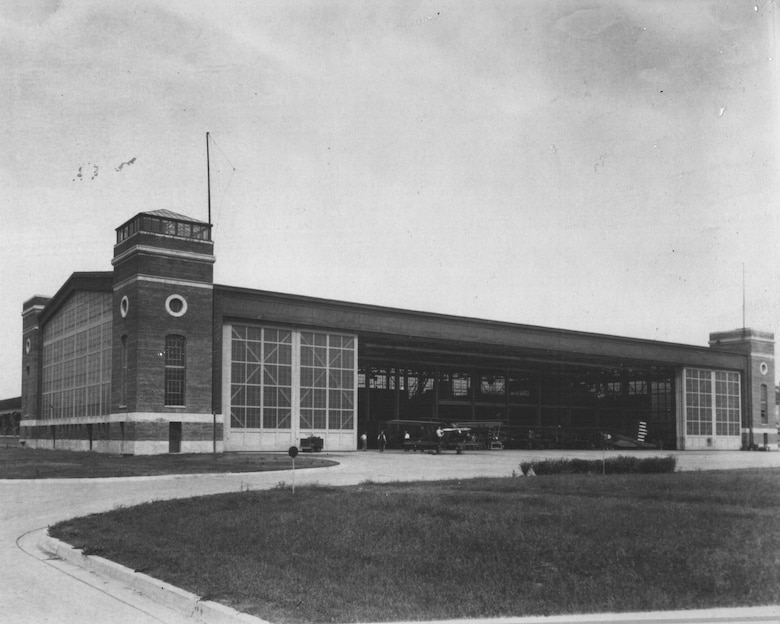 1930s photo of Bldg 31 before it was converted to landing gear test facility; the 1st control tower for wright field can be seen in the upper left. (U.S. Air Force photo)