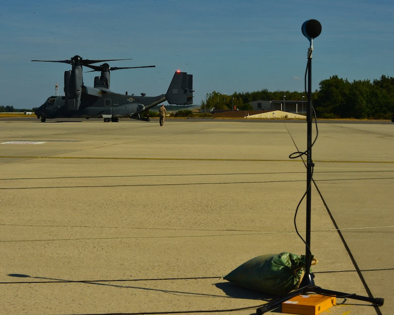 A U.S. Air Force CV-22 Osprey aircraft, assigned to the 352nd Special Operations Wing, Royal Air Force Mildenhall, England, undergoes acoustic testing on the flightline at Spangdahlem Air Base, Germany, Sept. 21, 2016. During the test, a local acoustic testing team placed multiple microphones around the CV-22 as part of the acoustic-testing process.  (U.S. Air Force photo by 1st Lt. Meredith Mulvihill)