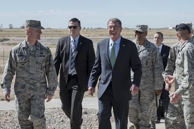Defense Secretary Ash Carter receives a tour of Kirtland Air Force Base, N.M., Sept. 27, 2016. Carter also met with senior leaders charged with maintaining and securing a key part of the nation's nuclear arsenal. DoD photo by Air Force Tech. Sgt. Brigitte N. Brantley