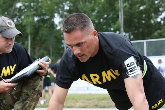 U.S. Army Sgt. 1st Class, Joshua Moeller, assigned to U.S. Army Reserve Command, participates in the push-up event during the U.S. Army 2016 Best Warrior Competition (BWC) at Fort A.P. Hill, Va., Sept. 26, 2016. The BWC is an annual four-day event that will test 20 individuals on their physical and mental capabilities. (U.S. Army photo by Spc. Michel'le Stokes)