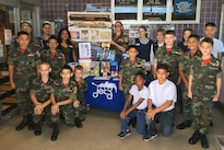Defense Commissary Agency commissary staff and Yuma Young Marines support the National Preparedness Month campaign at Marine Corps Air Station Yuma, Ariz., September 2016. Photo by Jennifer Certain, courtesy of Yuma Young Marines