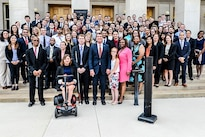 Defense Secretary Ash Carter takes a photograph with summer interns including those participating in the Workforce Recruitment Program at the Pentagon, Aug. 3, 2016. DoD offers programs for students, graduates and professionals, and employs more than 700,000 diverse civilians. DoD photo by Army Sgt. First Class Clydell Kinchen
