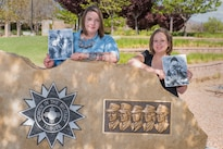 Veterans Lindsey Kibler and Gabrielle Holcomb hold photographs from their service in the Army at the New Mexico Veterans' Memorial Park in Albuquerque, N.M., April 24, 2016. Kibler and Holcomb are the first two women to participate in the Sandia National Laboratories hiring program for combat-injured veterans.