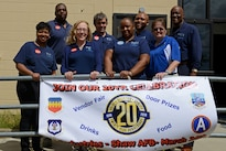 Base Supply Center employees celebrate 20 years of providing retail service at Shaw Air Force Base, S.C., March 24, 2016. The store supplies more than 5,000 products manufactured by the blind to the various units on base to assist them in completing their mission. Air Force photo by Airman 1st Class Destinee Dougherty