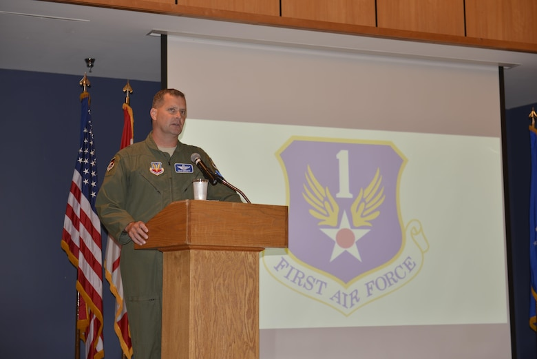 U.S. Air Force Brig. Gen. Daniel J. Orcutt, vice commander 1AF (AFNORTH), provides opening remarks for the Profession of Arms Center of Excellence (PACE) training conducted for 1AF and 601st Air Operations Center personnel on Sept. 27, 2016 at Tyndall AFB, Fla.  PACE training focuses on developing Air Force personnel with the professionalism mindset, character, and core values required to succeed today and well into the future. (U.S. Air Force photo by Technical Sgt. Ed Staton)