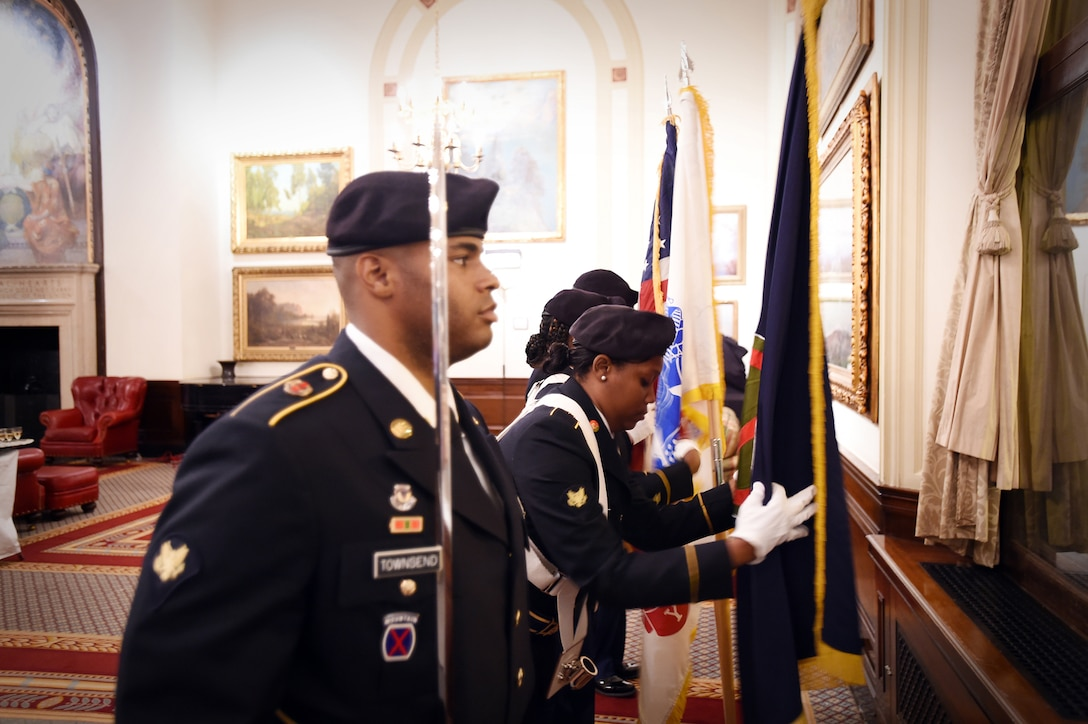 Army Reserve soldiers, assigned to the 85th Support Command, present the colors during the 70th reunion of Easy Company, 2nd Battalion, 506th Parachute Infantry Regiment, 101st Airborne Division at the Union League Club of Chicago, September 24, 2016. The famed Easy Company became widely known in part due to an HBO mini series called Band of Brothers. The 506th PIR was an experimental airborne regiment created in 1942 in Toccoa, Georgia that served in World War II. (U.S. Army photo by Sgt. Aaron Berogan/Released)