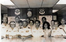 Presnal (third from left) poses for a unit photo celebrating the Air Weather Service's 50th anniversary at Luke Air Force Base, circa 1980s. A small ceremony to recognize Presnal's 50 years of service is scheduled for Sept. 28, 2016, in the 56th Operations Support Squadron building conference room. (U.S. Air Force photo by Tech Sgt. Luther Mitchell Jr.)