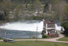 U.S. Army Corps of Engineers stock photo of hydropower plant and outflow area downstream of Youghiogheny Dam.