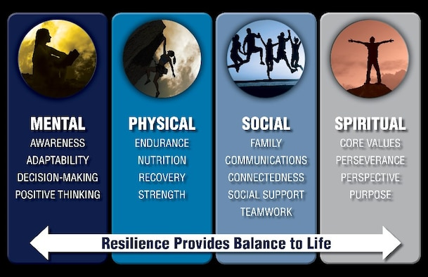 "Resilience is defined as how one ""deals effectively with pressure, ambiguous and emerging conditions, and multiple tasks; remains optimistic and persistent, even under adversity or uncertainty. Recovers quickly from setbacks. Anticipates changes and learns from mistakes."" (Defense Logistics Agency graphic)"