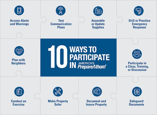 Signing up for local emergency alerts and warnings is one of the 10 ways to prepare for an emergency during America's PrepareAthon! The FEMA campaign serves as the culmination of September's National Preparedness Month.