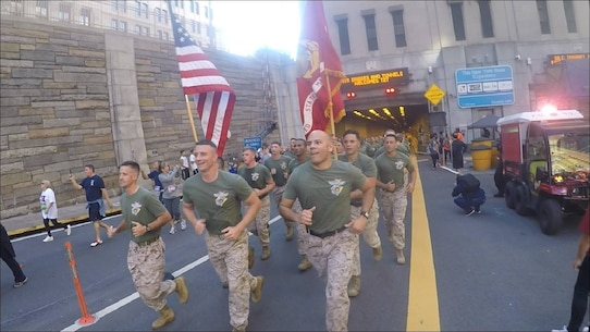 Marines and Sailors from 6th Communication Battalion, Force Headquarters Group, Marine Forces Reserved stationed in Brooklyn, New York run through the Brooklyn Battery Tunnel to Ground Zero is the annual Stephen Siller Tunnel To Towers Foundation run. 
