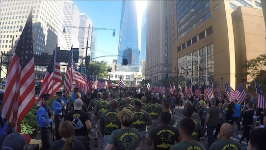 Marines and Sailors from 6th Communication Battalion, Force Headquarters Group, Marine Forces Reserved stationed in Brooklyn, New York run through the Brooklyn Battery Tunnel to Ground Zero is the annual Stephen Siller Tunnel To Towers Foundation run.   On September 11, 2001, Stephen, who was assigned to Brooklyn's Squad 1, had just finished his shift, and was on his way to play golf with his brothers when he got word of the first plane hitting the Twin Towers over his scanner. Upon hearing the news, Stephen called his wife Sally and asked her to tell his brothers he would catch up with them later, and returned to Squad 1 to get his gear.  Stephen drove his truck to the entrance of the Brooklyn Battery Tunnel, but it had already been closed for security purposes. Determined to carry out his duty, he strapped 60 lbs. of gear to his back, and raced on foot through the tunnel to the Twin Towers, where he gave up his life while saving others.   The mission of the Stephen Siller Tunnel to Towers Foundation is to honor the sacrifice of firefighter Stephen Siller who laid down his life to save others on September 11, 2001. We also honor our military and first responders who continue to make the supreme sacrifice of life and limb for our country