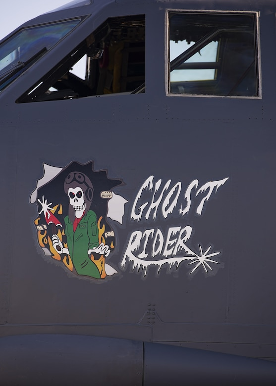 Nose art adorns the side of the B-52H Stratofortress 61-007 aka Ghost Rider at Minot Air Force Base, N.D., Sept. 27, 2016. Ghost Rider returned to Minot after nearly eight years at the 309th Aerospace Maintenance and Regeneration Group, aka Boneyard, at Davis-Monthan AFB, Ariz. (U.S. Air Force photo/Airman 1st Class J.T. Armstrong)
