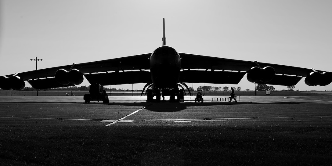 The B-52H Stratofortress 61-007, aka Ghost Rider, sits in the alternate parking area at Minot Air Force Base, N.D., Sept. 27, 2016. Ghost Rider returned to Minot after nearly eight years at the 309th Aerospace Maintenance and Regeneration Group, aka Boneyard, at Davis-Monthan AFB, Ariz. (U.S. Air Force photo/Airman 1st Class J.T. Armstrong)