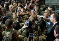 President Barack Obama greets service members at Fort Lee, Va., following remarks to thank them for their outstanding service to the nation, Sept. 28, 2016. Official White House photo by Pete Souza