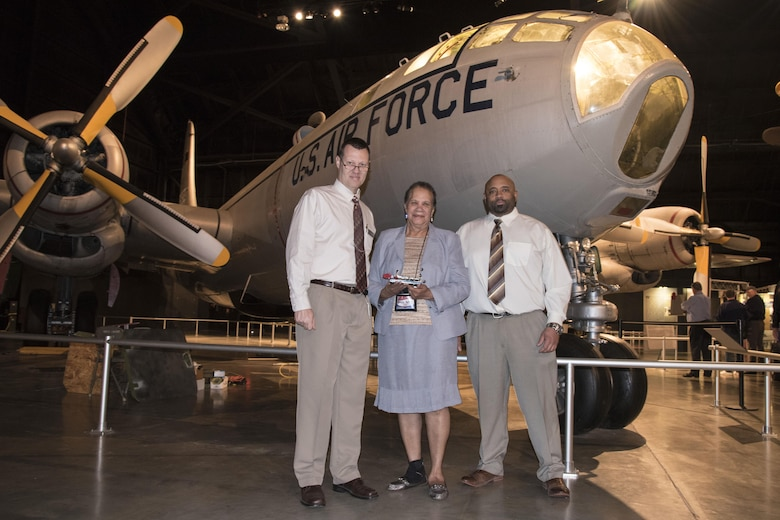 DAYTON, Ohio -- Patricia Paytee and son Terence Paytee donated a Morse code key on Sept. 29, 2016 at the National Museum of the U.S. Air Force. Museum Historian Dr. Doug Lantry accepted the donation on behalf of the museum. (U.S. Air Force photo)