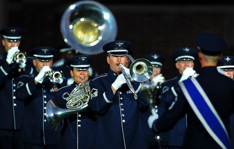 The U.S. Air Force Band performs during the Air Force Tattoo on the Joint Base Anacostia-Bolling Ceremonial Lawn, Washington, D.C., Sept. 22. Airmen from across the Air Force District of Washington commemorated the Air Force's 69th birthday with a Military Tattoo. (U.S. Air Force photo)