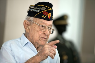 World War II veteran Army Sgt. 1st Class Santiago Pabon speaks about his military experience during an interview in Cabo Rojo, Puerto Rico, Aug. 10, 2016. DoD photo by EJ Hersom