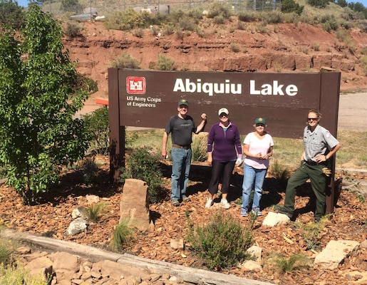 ABIQUIU LAKE, N.M., -- Some of the volunteers at the National Public Lands Day event at the lake, Sept. 24, 2016. Volunteers performed landscaping, trail maintenance and trash clean up.