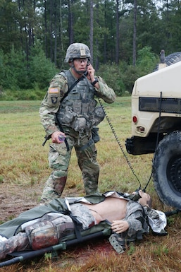 U.S. Army Sgt. 1st Class, Joshua Moeller, assigned to U.S. Army Reserve Command, demonstrates his marksmanship and tactical combat casualty care capabilities during a live-fire exercise on Day Three of the U.S. Army 2016 Best Warrior Competition (BWC) at Fort A.P. Hill, Va., Sept. 28, 2016. The BWC is an annual weeklong event that will test 20 Soldiers from the 10 major commands Army-wide, on their physical and mental capabilities. The top NCO and Soldier will be announced Oct. 3, in Washington DC. (U.S. Army photo by Spc. Michel'le Stokes).