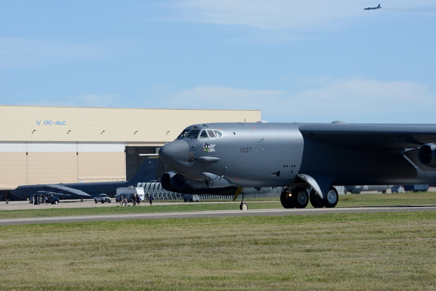 """Ghost Rider,"" taxis Sept. 27, 2016, before it takes off to head to Minot Air Force Base, N.D., where it will rejoin the B-52H fleet.  The historic aircraft, 61-007, is the first B-52H to ever be regenerated from long-term storage with the 309th Aerospace Maintenance and Regeneration Group at Davis-Monthan AFB, Ariz., and returned to full operational flying status. (Air Force photo by Kelly White)"