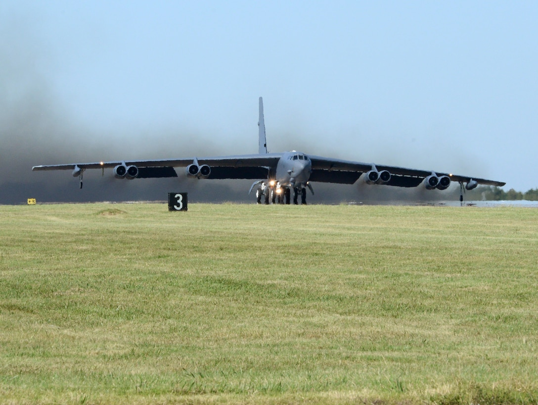 """""""Ghost Rider,"""" takes off for Minot Air Force Base, N.D., where it will rejoin the B-52H fleet. After undergoing a nine-month overhaul and upgrade by the Oklahoma City Air Logistics Complex, 61-007 left Tinker Air Force Base Sept. 27, 2016. The historic aircraft is the first B-52H to ever be regenerated from long-term storage with the 309th Aerospace Maintenance and Regeneration Group at Davis-Monthan AFB, Ariz., and returned to full operational flying status. (Air Force photo by Kelly White)"""