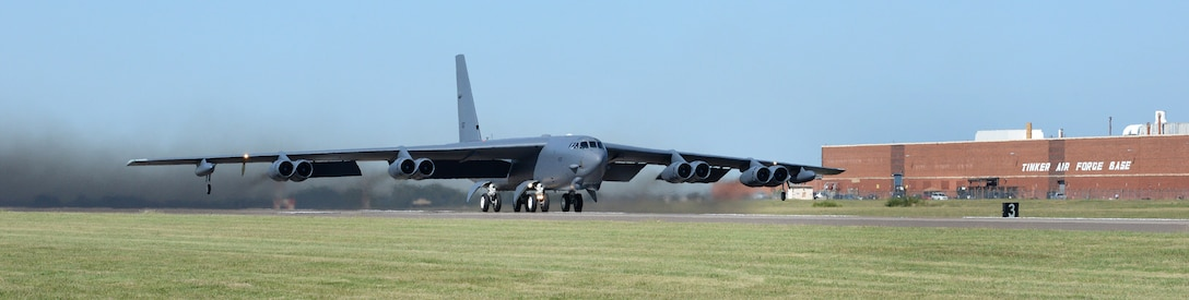 """Ghost Rider,"" takes off for Minot Air Force Base, N.D., where it will rejoin the B-52H fleet. After undergoing a nine-month overhaul and upgrade by the Oklahoma City Air Logistics Complex, 61-007 left Tinker Air Force Base Sept. 27, 2016. The historic aircraft is the first B-52H to ever be regenerated from long-term storage with the 309th Aerospace Maintenance and Regeneration Group at Davis-Monthan AFB, Ariz., and returned to full operational flying status. (Air Force photo by Kelly White)"