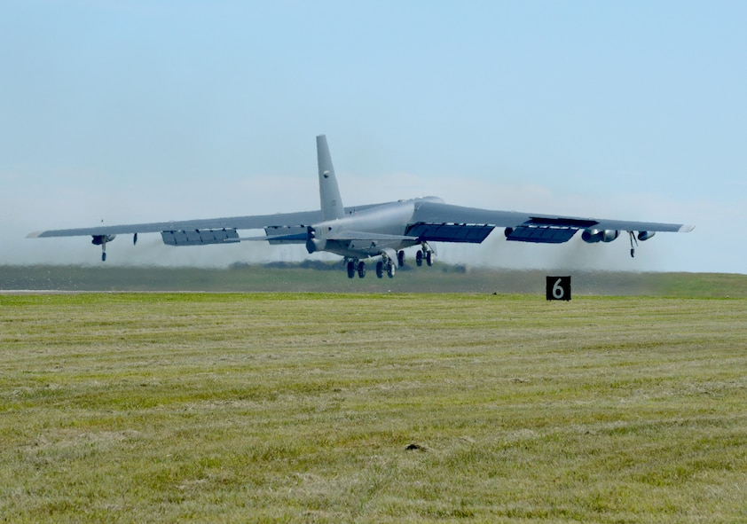 """Ghost Rider,"" lifts off for Minot Air Force Base, N.D., where it will rejoin the B-52H fleet. After undergoing a nine-month overhaul and upgrade by the Oklahoma City Air Logistics Complex, 61-007 left Tinker Air Force Base Sept. 27, 2016. The historic aircraft is the first B-52H to ever be regenerated from long-term storage with the 309th Aerospace Maintenance and Regeneration Group at Davis-Monthan AFB, Ariz., and returned to full operational flying status. (Air Force photo by Kelly White)"