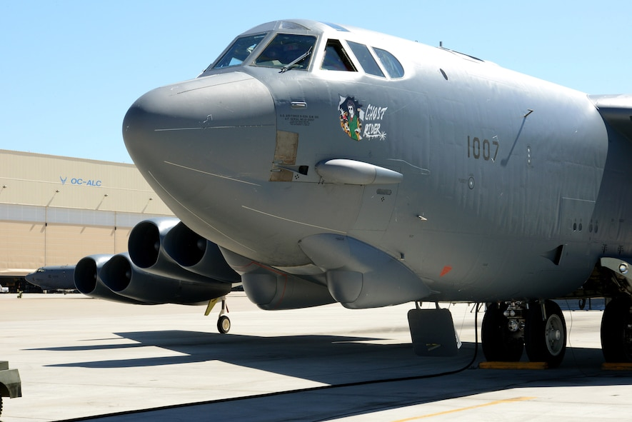"""""""Ghost Rider,"""" takes off for Minot Air Force Base, N.D., where it will rejoin the B-52H fleet. After undergoing a nine-month overhaul and upgrade by the Oklahoma City Air Logistics Complex, 61-007 left Tinker Air Force Base Sept. 27. The historic aircraft is the first B-52H to ever be regenerated from long-term storage with the 309th Aerospace Maintenance and Regeneration Group at Davis-Monthan AFB, Ariz., and returned to full operational flying status. (Air Force photo by Kelly White)"""