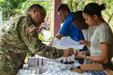 Members of the pharmacy section fill prescriptions during a medical readiness training exercise, or MEDRETE, in the village of Bacadilla, Olancho district, Honduras, Sept. 22, 2016. During this MEDRETE, the pharmacy operated out of a Bacadilla resident's front porch, which was across the street from the MEDRETE site. (U.S. Air Force photo by Staff Sgt. Siuta B. Ika)