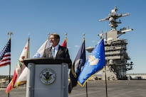 Defense Secretary Ash Carter addresses sailors aboard the USS Carl Vinson in San Diego, Sept. 29, 2016. Carter is on a trip to discuss rebalancing to the Asia-Pacific region and ongoing security challenges there. DoD photo by Air Force Tech. Sgt. Brigitte N. Brantley
