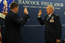 U.S. Air Force Lt. Col. Daniel Tester, vice wing commander of the 174th Attack Wing, is promoted Colonel at Hancock Field in Syracuse, NY on Sep 26, 2016. (NY Air National Guard photo by Tech. Sgt. Jeremy M. Call/Released)