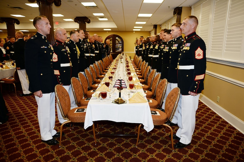 Officers and staff noncommissioned officers from various commands throughout the base took part in a recent mess night, a formal occasion where Marines gather to share the Corps' customs and courtesies, as well as build camaraderie and Esprit de Corps at Marine Corps Logistics Base Albany's Town and Country Grand Ballroom.