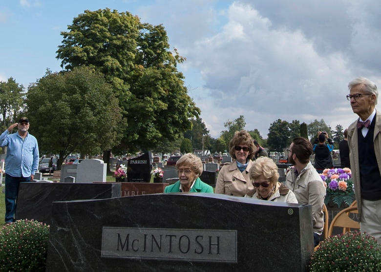 Family and friends gathered together for a ceremony commemorating the life of Army Air Corps Lt. Robert McIntosh in Tipton Ind., Sept. 29, 2016. McIntosh was a fighter pilot during World War II whose plane, a P-38 Lightning, disappeared in Italy on May 22, 1944. (U.S. Air Force photo/Senior Airman Andrew Crawford)