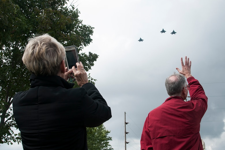 F-22 Raptors from the 27th Fighter Squadron perform a flyover in during a ceremony to honor a World War II veteran Tipton, Ind. Sept. 29, 2016. The ceremony was to honor Lt. Robert McIntosh, 27th Fighter Squadron pilot, whose remains were recently recovered. (U.S. Air Force photo/Staff Sgt. Dakota Bergl)