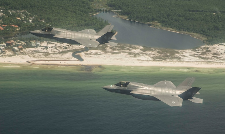 U.S. Marine F-35 aircrew performed an Air Force Operational Test and Evaluation Center and Joint Operational Test Team test on August 18 at Eglin Air Force Base, Florida. (U.S. Air Force photo by Staff Sgt. Brandi Hansen)