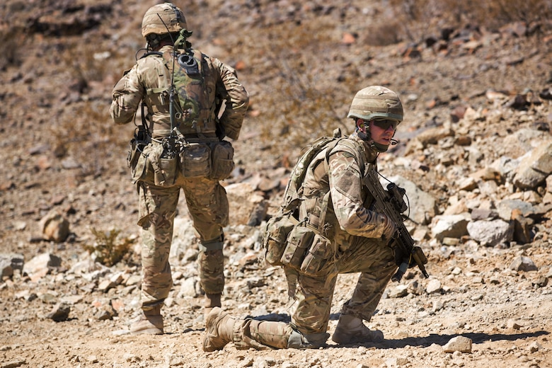 British Royal Marines conduct an assault on Range 205 as part of Exercise Black Alligator aboard the Marine Corps Air Ground Combat Center, Twentynine Palms, Calif., Sept. 13, 2016. U.S. and British Royal Marines conducted bilateral training in urban warfare maneuvers at Twentynine Palms, Calif. (U.S. Marine Corps photo by Cpl. Levi Schultz)