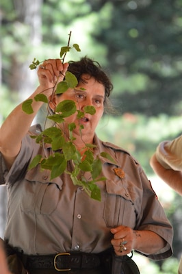Park Ranger Viola Bramel holds up a tree branch and identifies it to her audience during the  Beginning Bridges Five Senses and Solar Power Day at West Hill Dam in Massachusetts on July 20, 2016.
