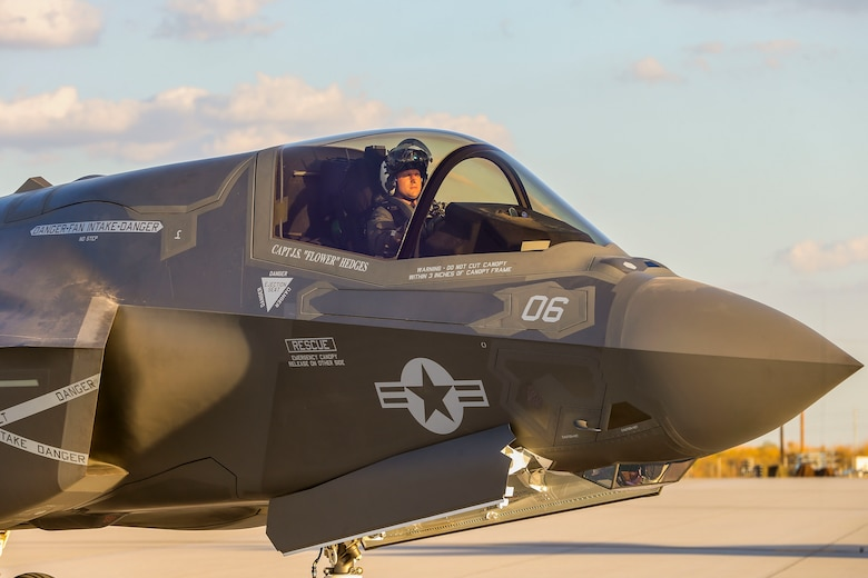 U.S. Marine Corps Maj. Mark Noble, F-35 instructor pilot with Marine Aviation Weapons and Tactics Squadron One (MAWTS-1) taxis on the runway during a hot load at Marine Corps Air Station Yuma, Ariz., Sept. 22, 2016. The exercise is part of Weapons and Tactics Instructor (WTI) 1-17, a seven-week training event hosted by MAWTS-1 cadre. MAWTS-1 provides standardized tactical training and certification of unit instructor qualifications to support Marine Aviation Training and Readiness and assists in developing and employing aviation weapons and tactics. (U.S. Marine Corps photograph by SSgt. Artur Shvartsberg, MAWTS-1 COMCAM)