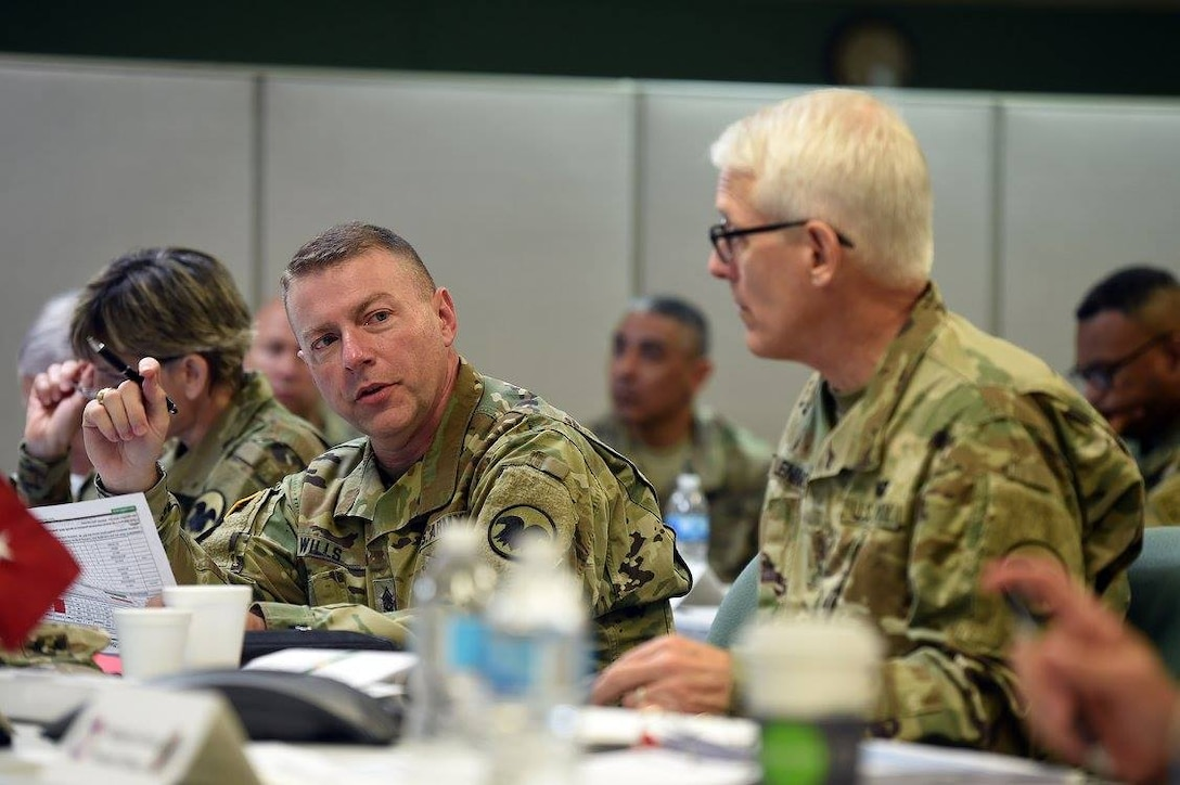 Army Reserve Command Sgt.Maj. James Wills, Command Sergeant Major, U.S. Army Reserve, addresses command topics during the 85th Support Command-hosted Commander's Readiness Review at the 85th SPT CMD headquarters, September 24, 2016. CR2 integrates elements from Operation Full Court Press, Precision Readiness Initiative, Mission Training Brief, -- and provides a comprehensive annual review session for the USARC senior leadership team. Under the unique partnership that the 85th SPT CMD and First Army share, the 85th is responsible for the readiness of the assigned 46 reserve battalions operationally controlled by First Army across the United States. (Photo by Sgt. Aaron Berogan)