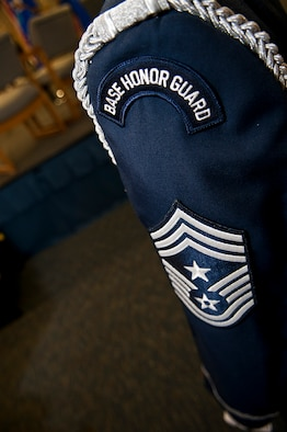 A Base Honor Guard ceremonial uniform is displayed at Minot Air Force Base, N.D., Sept. 29, 2016. Base Honor Guard members wear the ceremonial uniform every time they perform in a detail. (U.S. Air Force photo/Airman 1st Class Jonathan McElderry)