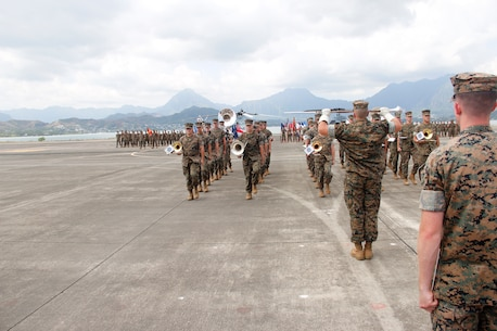 The MARFORPAC Band performs a ceremony on the airfield aboard Marine Corps Base Hawaii.