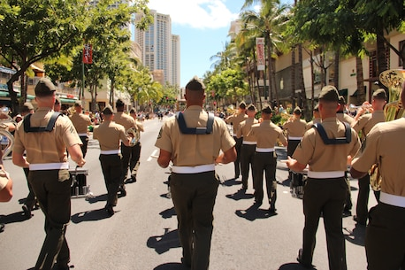 A view from behind the Field Band, as they march through Honolulu.