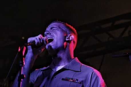 Sgt. Michael Murphy sings with the MARFORPAC Rock Band.