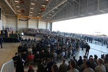 """Hundreds of attendees gather for a memorial service for Lt. Col. Steve """"Shooter"""" Eadie, Sept. 29, 2016, at Beale Air Force Base, California. Eadie was assigned to the 1st Reconnaissance Squadron and served as a U-2 instructor pilot. He is survived by his wife Ashley, and their six children. (U.S. Air Force photo/Staff Sgt. Bobby Cummings)"""